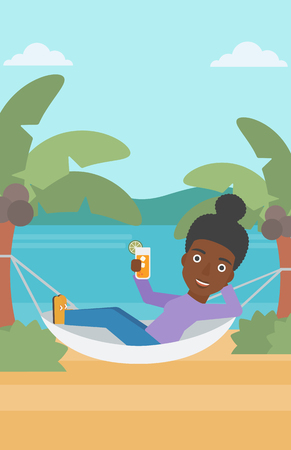 chilling: An african-american woman chilling in hammock on the beach with a cocktail in a hand vector flat design illustration. Vertical layout. Illustration