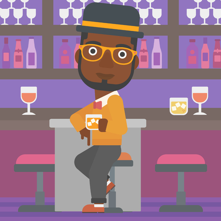 bar counter: An african-american man sitting near the bar counter and holding a glass vector flat design illustration. Square layout. Illustration