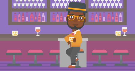 bar counter: An african-american man sitting near the bar counter and holding a glass vector flat design illustration. Horizontal layout.