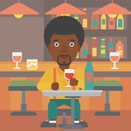Un homme afro-américain assis au bar et boire vecteur vin design plat illustration. layout Square. Banque d'images - 56141512