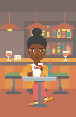 woman drinking wine: An african-american woman sitting at the bar and drinking wine vector flat design illustration. Vertical layout.