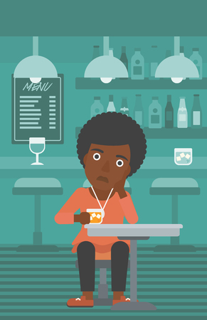 An african-american woman sitting at the bar with a glass vector flat design illustration. Vertical layout.