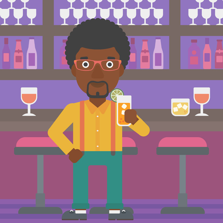 clang: An african-american man standing at the bar and holding a glass of juice vector flat design illustration. Square layout. Illustration