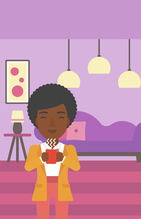 hot woman: An african-american woman drinking hot flavored coffee in living room vector flat design illustration. Vertical layout.