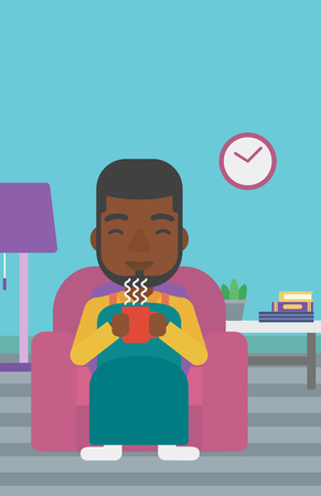 wrap wrapped: An african-american man wrapped into a plaid sitting in chair in living room and holding a cup of hot flavored tea vector flat design illustration. Vertical layout.
