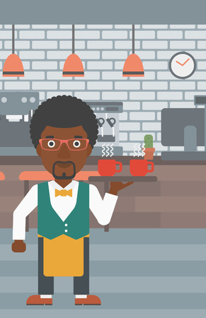 lenght: An african-american waiter holding a tray with cups of tea or coffee at the bar vector flat design illustration.  Vertical layout.