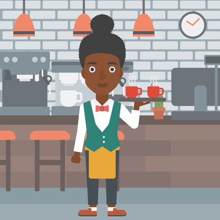 lenght: An african-american waiteress holding a tray with cups of tea or coffee at the bar vector flat design illustration. Square layout.