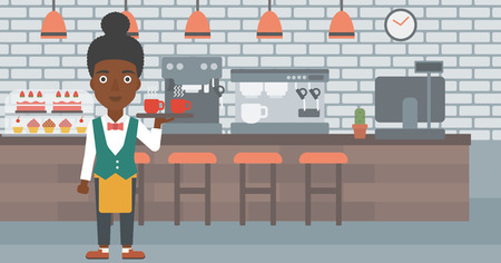 lenght: An african-american waiteress holding a tray with cups of tea or coffee at the bar vector flat design illustration. Horizontal layout.