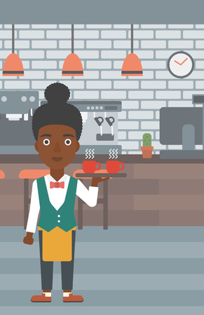 lenght: An african-american waiteress holding a tray with cups of tea or coffee at the bar vector flat design illustration. Vertical layout. Illustration