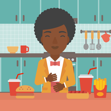 fire in the belly: An african-american woman standing in the kitchen in front of table full of junk food and suffering from heartburn vector flat design illustration. Square layout.