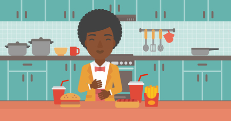 fire in the belly: An african-american woman standing in the kitchen in front of table full of junk food and suffering from heartburn vector flat design illustration. Horizontal layout.