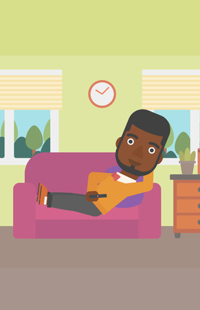 An african-american man lying on a sofa and watching tv with a remote control in his hand vector flat design illustration. Vertical layout. Illustration