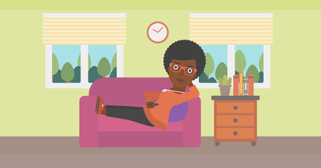 woman watching tv: An african-american woman lying on a sofa and watching tv with a remote control in her hand vector flat design illustration. Horizontal layout.
