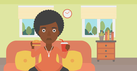 lunch room: An african-american woman sitting on a sofa while eating hamburger and drinking soda on the background of living room vector flat design illustration. Horizontal layout. Illustration