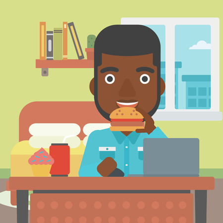 condo: An african-american man working on laptop while eating junk food on the background of bedroom vector flat design illustration. Square layout.