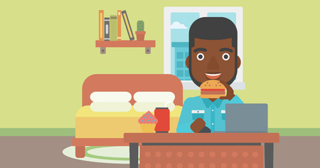 condo: An african-american man working on laptop while eating junk food on the background of bedroom vector flat design illustration. Horizontal layout.