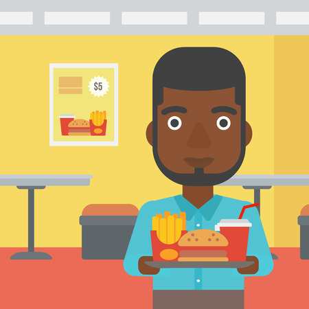 french ethnicity: An african-american man holding a tray full of junk food on a cafe background vector flat design illustration. Square layout.
