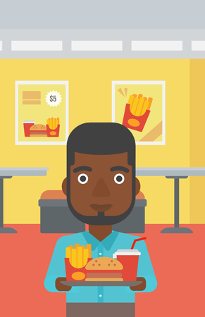 french ethnicity: An african-american man holding a tray full of junk food on a cafe background vector flat design illustration. Vertical layout.