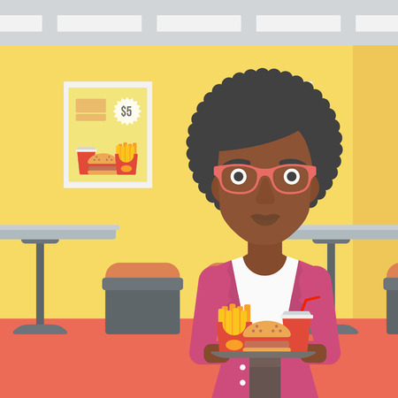 french ethnicity: An african-american woman holding a tray full of junk food on a cafe background vector flat design illustration. Square layout.