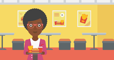 french ethnicity: An african-american woman holding a tray full of junk food on a cafe background vector flat design illustration. Horizontal layout.