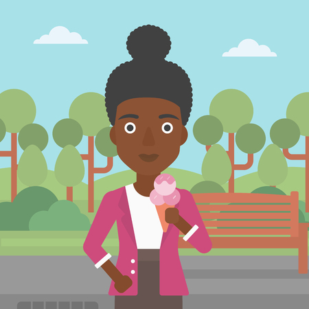 An african-american woman holding a big icecream in hand on a park background vector flat design illustration. Square layout.