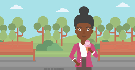 An african-american woman holding a big icecream in hand on a park background vector flat design illustration. Horizontal layout. Illustration
