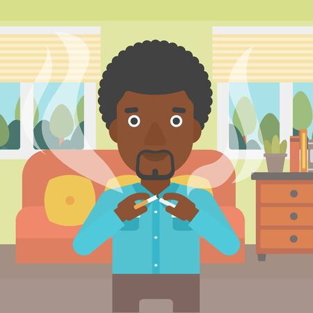 quit: An african-american man breaking the cigarette on the background of living room vector flat design illustration. Square layout.