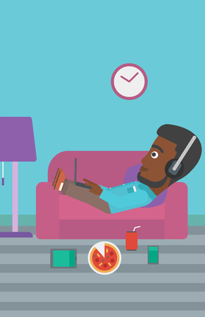 electronic devices: An african-american man in headphones lying on a sofa in living room with electronic devices and fast food vector flat design illustration. Vertical layout.