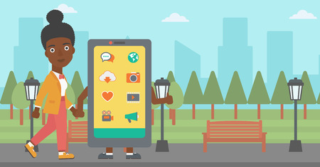 An african-american woman walking with a big smartphone in the park vector flat design illustration. Horizontal layout.