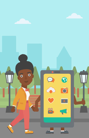 An african-american woman walking with a big smartphone in the park vector flat design illustration. Vertical layout.