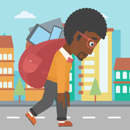 cary: An african-american man walking with a big backpack full of different devices on a city background vector flat design illustration. Square layout.