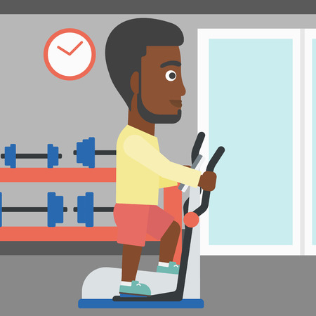 An african-american man exercising on a elliptical machine in the gym vector flat design illustration. Square layout. Illustration