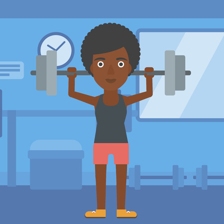An african-american woman lifting a barbell in the gym vector flat design illustration. Square layout. Ilustrace