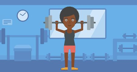 crossbar: An african-american woman lifting a barbell in the gym vector flat design illustration. Horizontal layout.