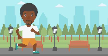 jogging in park: An african-american man jogging in the park vector flat design illustration. Horizontal layout. Illustration