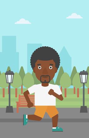 jogging in park: An african-american man jogging in the park vector flat design illustration. Vertical layout. Illustration