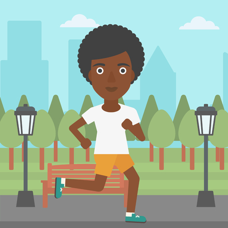 jogging park: An african-american woman jogging in the park vector flat design illustration. Square layout.