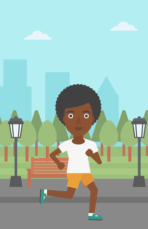 jogging in park: An african-american woman jogging in the park vector flat design illustration. Vertical layout.