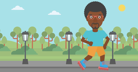 rollerskates: An african-american man on the roller-skates in the park vector flat design illustration. Horizontal layout.