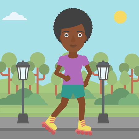 An african-american woman on the roller-skates in the park vector flat design illustration. Square layout.