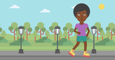 rollerskates: An african-american woman on the roller-skates in the park vector flat design illustration. Horizontal layout.