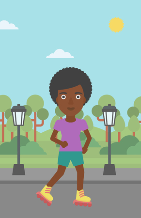 rollerskates: An african-american woman on the roller-skates in the park vector flat design illustration. Vertical layout.