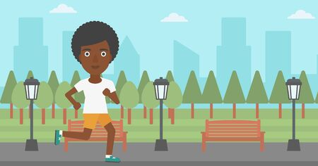 jogging in park: An african-american woman jogging in the park vector flat design illustration. Horizontal layout. Illustration