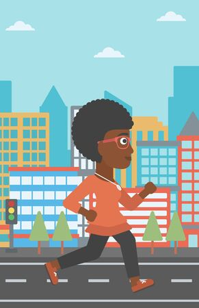 An african-american woman jogging on a city background vector flat design illustration. Vertical layout.