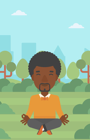 lotos: An african-american businessman meditating in lotus pose in the park vector flat design illustration. Vertical layout.