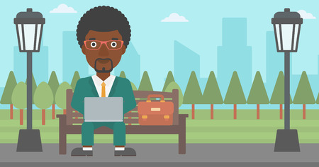 An african-american man sitting in the park on a bench and working on a laptop vector flat design illustration. Horizontal layout. Illustration