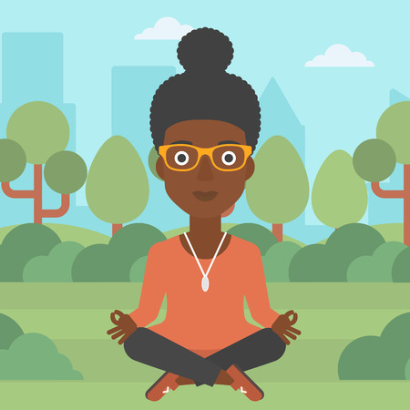An african-american business woman meditating in lotus pose in the park vector flat design illustration. Square layout.