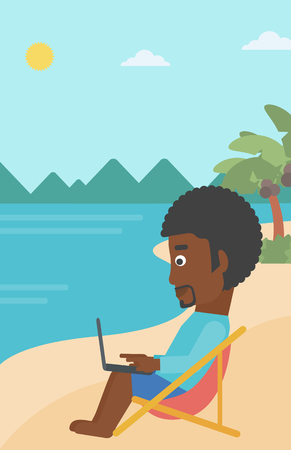 chaise lounge: An african-american businessman sitting on the beach in chaise lounge and working on a laptop vector flat design illustration. Vertiacl layout. Illustration