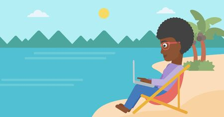 laptop outside: An african-american business woman sitting on the beach in chaise lounge and working on a laptop vector flat design illustration. Horizontal layout.