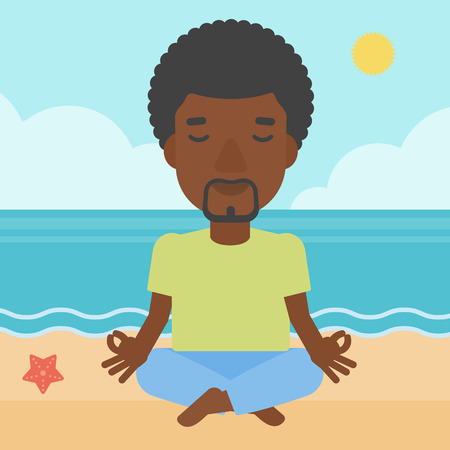 concentrating: An african-american man meditating in lotus pose on the beach vector flat design illustration. Square layout.